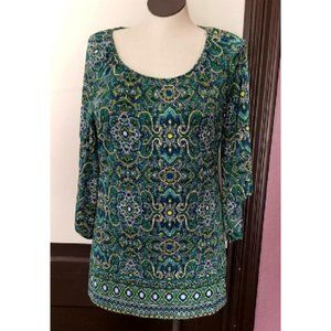 Paisley Floral Tunic Top Blouse size Lg